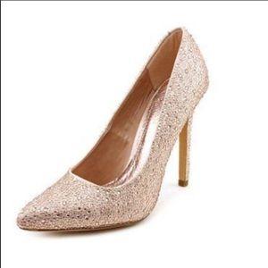 """Diba """"Blossom"""" Rose Gold Sparkling Heels"""